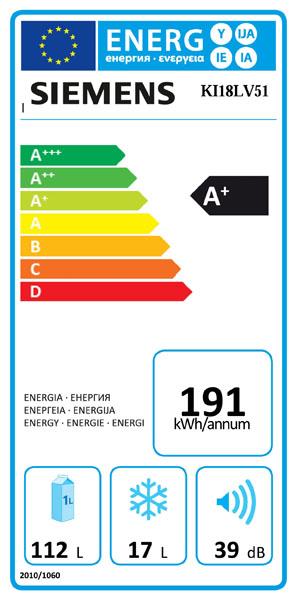 Energieeffizienzklasse bei Siemens Kühlschrank