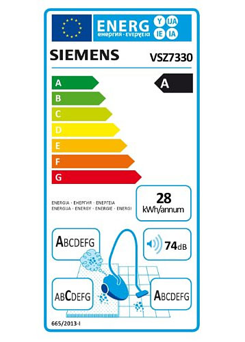 EU-Energielabel für Siemens VSZ7330
